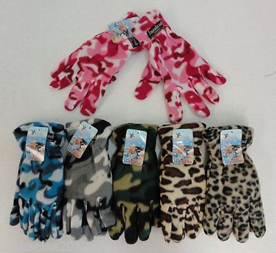 144 Pairs Womens Fleece Gloves Assorted Camo Cheetah Thermal Insulated Winter