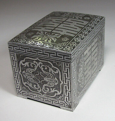 A Quite Large/Rare Korean Iron Silver Inlaid Box with Cover-19th C