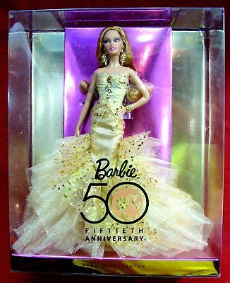 NEW BARBIE 50th ANNIVERSARY GLAMOUR COLLECTOR DOLL NRFB GOLD LABEL N4981 NIB
