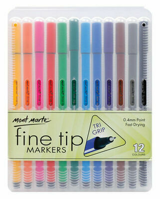 Mont Marte Fineliner Marker Pen Set - Tri Grip 12pc