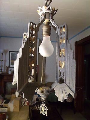 Vintage Art Deco Cast Aluminum Hanging Light Fixture Chandelier Painted Rare