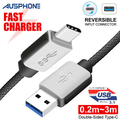 Braided Fast USB 3.1 Type C USB-C to Male Data Cable Google Samsung S9 + S10