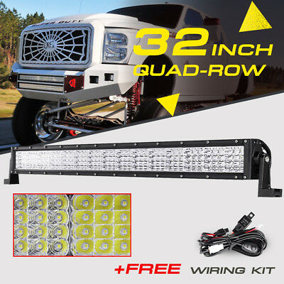 QUAD-ROW 32INCH 2160W CREE LED Light Bar Spot Flood Offroad Fog Truck UTV 22/42""