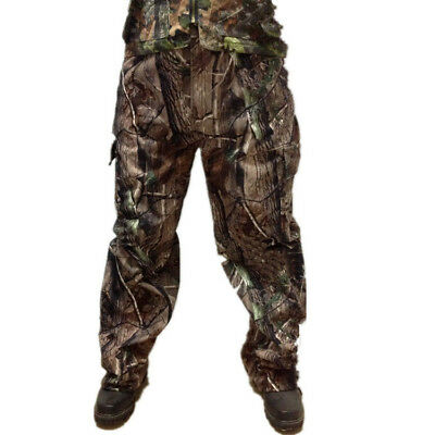 Men's Bionic Camoflage Fleece Pants for Winter Hunting Casual Tactical Trousers