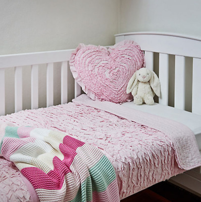 Linens N Things Shabby Pink Chic Cot Baby Girl Ruffle Quilt Cot Bed Cushion
