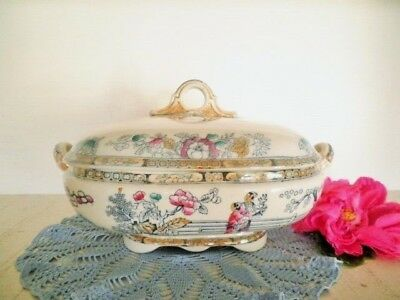Antique Tureen Lidded Gildea & Walker C1881-85 Chinoiserie Chinese Pagoda C-More