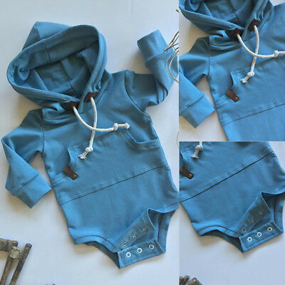 Baby Boys Infant Hooded Top Romper Bodysuit Shirt Hoodie Outwear Clothes Outfits