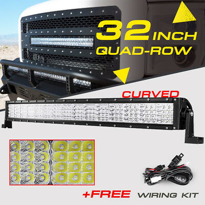 "32""INCH 2160W Quad-Row Curved CREE LED Light Bar Flood Spot Fog ATV UTV 4WD 30"""