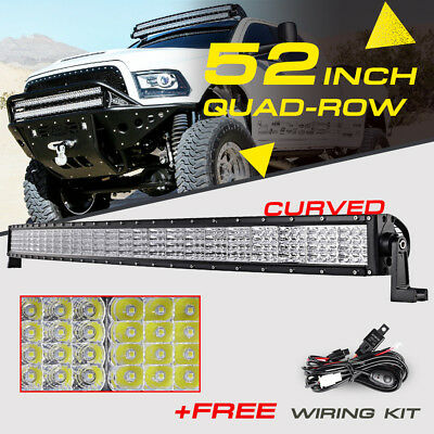 "Quad-Row 52"" 3600W Curved CREE LED Light Bar Flood Spot Offroad Truck 4WD 50/54"""