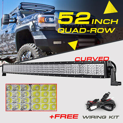 "52"" 3600W Curved CREE Quad-Row LED Light Bar Flood Spot Truck For Ford Chevy Ram"
