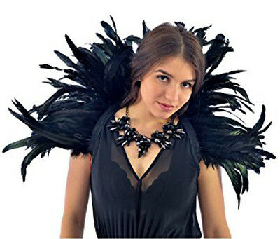 Black Rooster Coque Feather Stand-Up Collar/showgirl/costume/gothic/ Drag Queen
