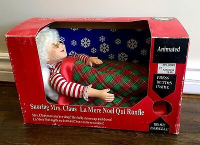 1993 Gemmy Snoring Mrs Clause Animated Figure In Bed Santa Christmas Vintage NIB