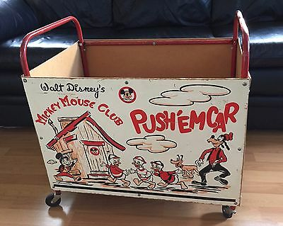 Vintage 1950's Walt Disney Productions Mickey Mouse Club Push' Em Cart Toy Box