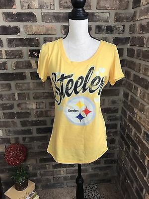 NEW NFL Pittsburgh Steelers FOOTBALL WOMEN'S YELLOW SHIRT SIZE MEDIUM  AL