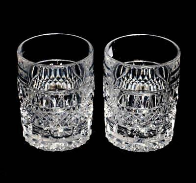 Vintage pair of heavy quality crystal large whisky tumblers