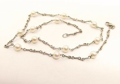 """Vtg 14K White Gold Cultured Pearl Necklace Strand 5.6mm 17.5"""" Estate Chain Italy"""