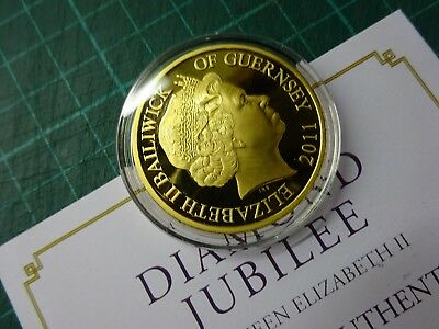 50p 2011 DIAMOND JUBILEE Portrait Guernsey Gold Plated Coin In Capsule + Cert