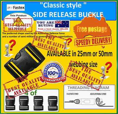 QUICK RELEASE BUCKLES (from $2.29 each) - 4 of - 25mm or  50mm - FREE POST
