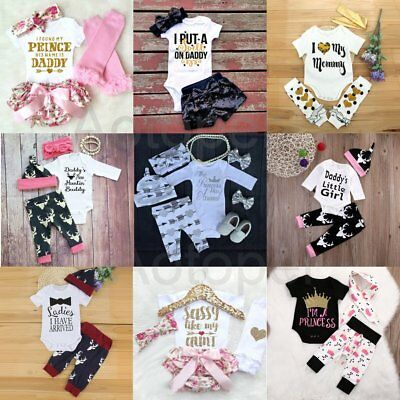 Newborn Baby Boys Girls Kids Hat Romper Pants Dress Trousers Outfits Clothes Set