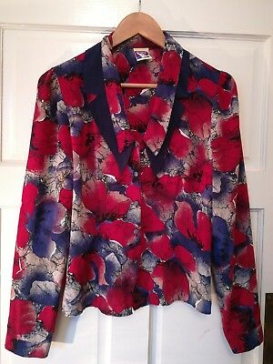 Fabulous vintage Yessica blouse double collar floral red blue office 80s 10 12