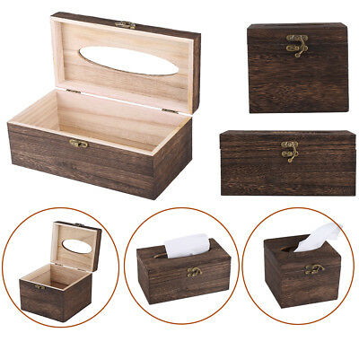 Wooden Retro Tissue Box Paper Napkin Cover Holder Case Dispenser Home Decor HG