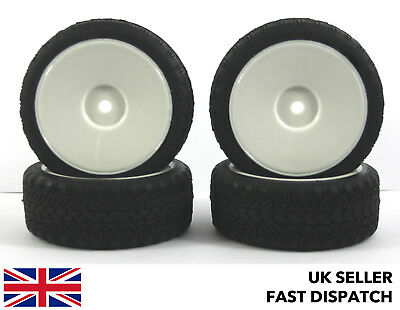 4 x White Solid Wheels & On Road Tyres 1/10th Touring Car RC *PRE GLUED* 12mm