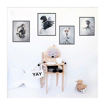 Kawaii Watercolor Cartoon Poster Wall Art Canvas Print Nursery Picture for Child