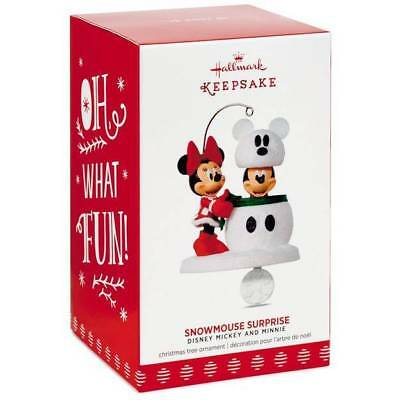 Hallmark Mickey and Minnie Snowmouse Surprise Disney Christmas Ornament *New*