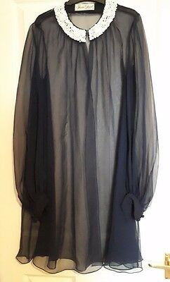 1960s VINTAGE NAVY TRANSPARENT ROBE GOWN WITH BEADING, SUSAN SMALL, SIZE 14