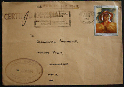 """Malaysia 1969 Forces Air Mail Official Cover with """"Jungle Warfare School"""" Cachet"""