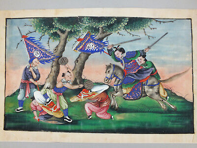 2) Fine Chinese Water Colour Painting On Rice/pith Paper Of Ceremonial Warriors