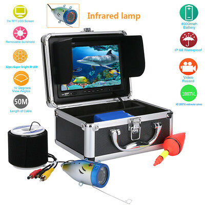 "50m Waterproof Fish Finder Underwater Ice Fishing Camera 7"" LCD HD Monitor Float"