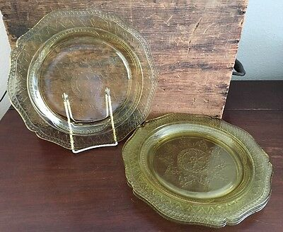 Federal Glass Patrician Amber 11 inch Dinner Plate Set of 4 Lot 8