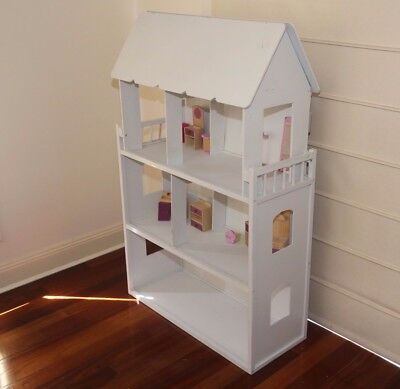Large Wooden White 3 Level Doll House with Attic Pick Up Narre South 3805