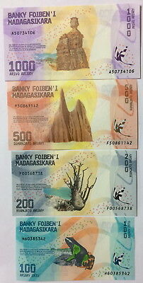 MADAGASCAR SET 4 UNC 100 200 500 1000 ARIARY 2017 P NEW x LOT 10 SETS = 40 NOTES
