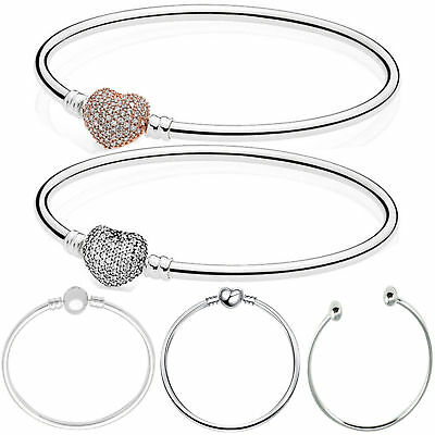 European Charm Bangle Bracelets Fit DIY 925 sterling Silver Charms Beads Pendant