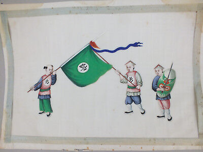 7) FINE CHINESE WATER COLOUR PAINTING ON RICE/PITH PAPER CEREMONIAL MEN 19thC