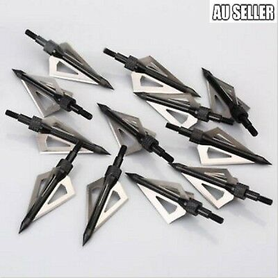 12Pcs Heads Arrows Hunting Broadheads 100 Grain 3 Blade Broad Arrow Screw hot
