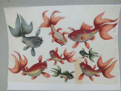 11) FINE CHINESE WATER COLOUR STUDY ON RICE/PITH PAPER OF SPECIES OF FISH 19thC