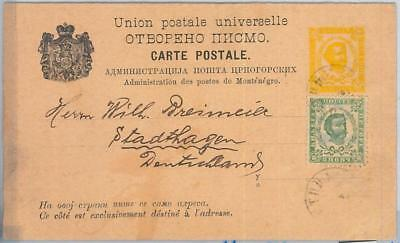 65980 MONTENEGRO  - POSTAL STATIONERY CARD  - P10 Double Card