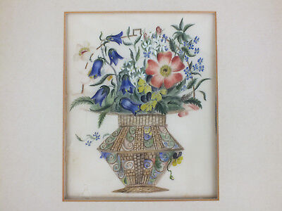 14) Fine Chinese Water Colour Painting On Rice/pith Paper Of A Vase Of Flowers