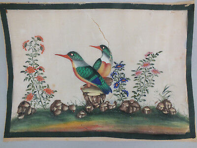 19) FINE CHINESE WATER COLOUR STUDY ON RICE/PITH PAPER OF BIRDS & FOLIAGE 19thC
