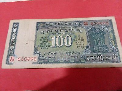 indian 100 rupees old note