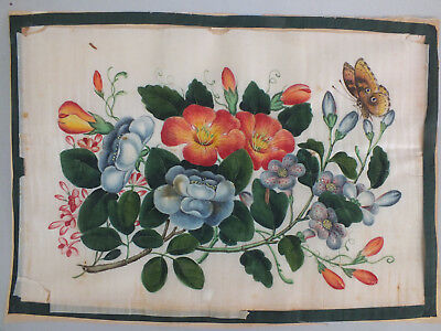 21) Fine Chinese Water Colour Study On Rice/pith Paper Of A Butterfly & Flowers