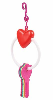 Small Caged Bird Heart Key Ring Toy Budgies Parrotlets Finches Canaries Lovebird