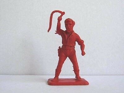 1 x CRESCENT. WILD WEST COWBOY with WHIP. 1960's PLASTIC TOY SOLDIER. 1/32 SCALE