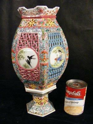 Antique Chinese Export Famille Rose Porcelain Reticulated Wedding Lamp