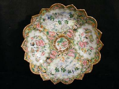 "Antique 8.5"" Rose Medallion Chinese Export Lotus Bowl - Landscapes"