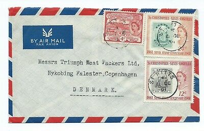 ST CHRISTOPHER; NEVIS; ANGUILLA: Airmail cover to Denmark 1941.