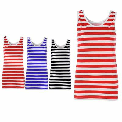Ladies Red And White Striped Vest Top Stripy Tops Womens Fancy Dress Book Week